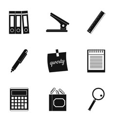 office tools icon set simple style vector image vector image