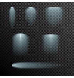 set of glowing light bursts on black vector image