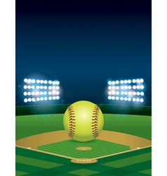 Softball on Field Copyspace vector image vector image