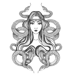 Woman with snakes Tattoo art coloring books vector image