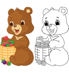 Bear coloring page vector image vector image
