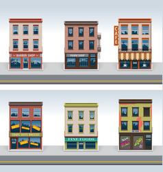 city buildings icon set vector image vector image