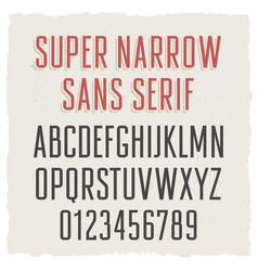 narrow sans serif 003 vector image vector image