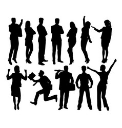 creative business people standing silhouettes vector image vector image