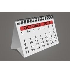 Desktop turn page calendar october 2016 vector image vector image