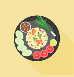 fried rice in thai style vector image vector image