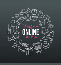 hand drawn set of online fashion shopping icons vector image