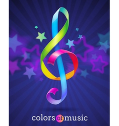 Multicolored ribbons in the shape of treble clef vector image vector image