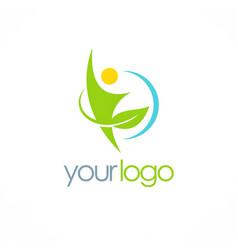 people green leaf organic logo vector image