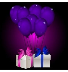 realisic gift box with balloons vector image