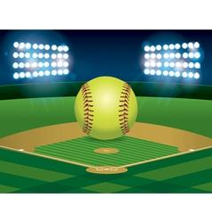Softball on Stadium Field vector image vector image