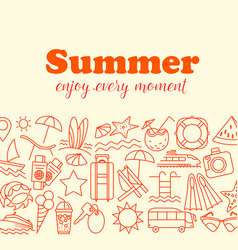 thin line style summer with vector image