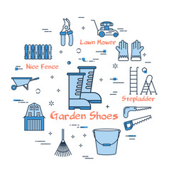 06 blue gardening -garden shoes vector image