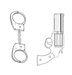 3d model of handcuffs and a revolver on a white vector image