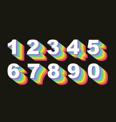 80 s retro numbers rainbow vintage alphabet vector