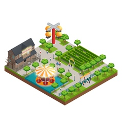 Amusement Park And Attractions Isometric Concept vector