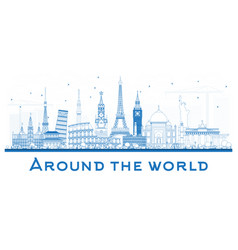 Around the world outlinetravel concept with vector