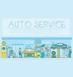 auto service landscape concept thin line icons vector image