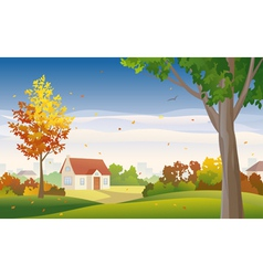 Autumn suburb vector