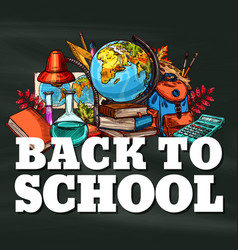 Back to school stationery sketch poster vector