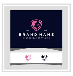 Beautiful woman shield logo design vector