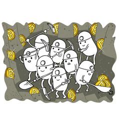 bitcoin mining doodle vector image