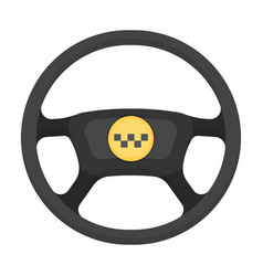 Black wheel with yellow emblem of taxi the vector