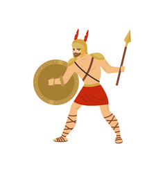brave caucasian gladiator fighting with spear and vector image