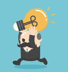 Businessman holding a lamp of knowledgeBig Boss vector