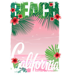 california beach t-shirt graphics vector image