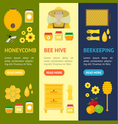 cartoon honey banner vecrtical set vector image