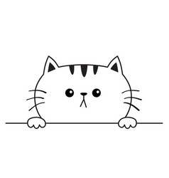 Cat sad head face icon hands paw holding table vector