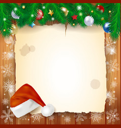 christmas background with parchment vector image