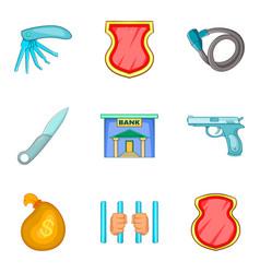 Criminal activity icons set cartoon style vector