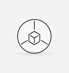 cube in circle outline icon augmented vector image