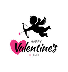 cupid silhouette bow arrow heart valentines day vector image