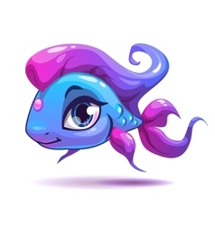 Cute cartoon blue girl fish vector