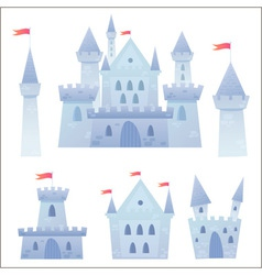 Cute cartoon medieval castle and set towers vector