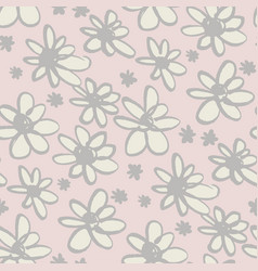 daisy flowers sketch seamless pattern vector image