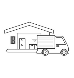 delivery service truck with warehouse vector image