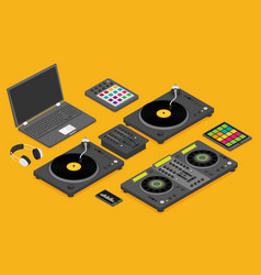 Dj devices set in isometric flat style isolated vector