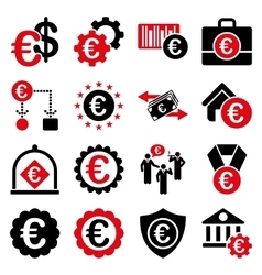 Euro banking business and service tools icons vector image