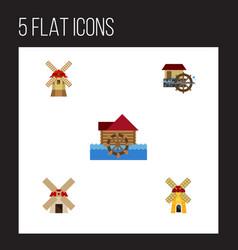 Flat icon alternative set of ecology turbine vector