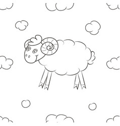 Fluffy sheep fly in the sky vector