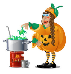 Forest witch in costume jack-o-lantern brews magic vector