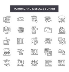 Forums and message boards line icons for web and vector