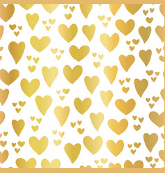 gold foil hearts on white seamless pattern vector image