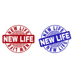 Grunge new life scratched round stamps vector