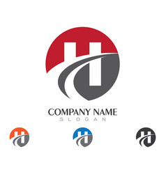 h letter faster logo template icon design vector image