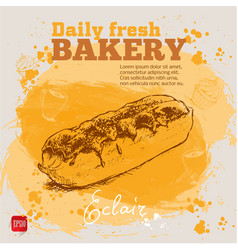 Hand drawn sketch chocolate eclair vector